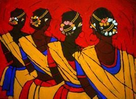 Tribal Dance by Jiaur Rahman, , , Brown color
