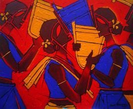 Tribal Women by Jiaur Rahman, , , Red color
