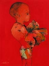 Childhood by Mukesh Salvi, , , Red color