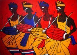 Tribal Dance by Jiaur Rahman, , , Red color