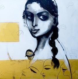 Lady II by Mithun Dutta, , , Cyan color