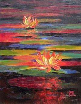 Waterlilies-11 by Swati Kale, , , Brown color