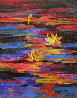 Waterlilies-12 by Swati Kale, , , Brown color