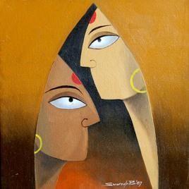 Faces-2 by Swaroop Biswas, , , Brown color