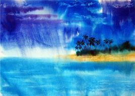 The Beach by Swaroop Biswas, , , Blue color