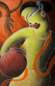 Santhal Woman (Mrigaya Series) by Dhananjay Mukherjee, , , Brown color