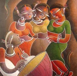 Santhal Dancer (Mrigaya Series) by Dhananjay Mukherjee, , , Brown color