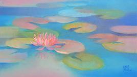 Waterlilies-18 by Swati Kale, , , Cyan color