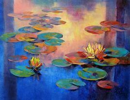 Waterlilies - 20 by Swati Kale, , , Blue color