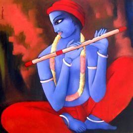 Krishna (VII) by Sekhar Roy, , , Red color