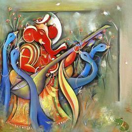Ganesha by M Singh, , , Beige color