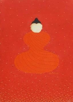 The Buddha by Hemavathy Guha, , , Red color