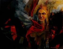 Red Blessing by Pradip Sengupta, , , Black color