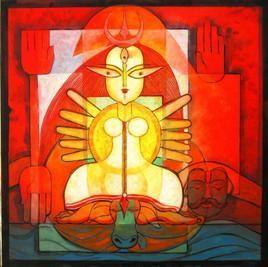 Durga by Deepankar Majumdar, , , Red color