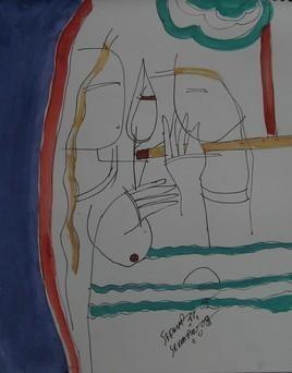 Krishna & She by Sekhar Roy, , , Gray color