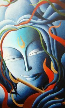 Untold Uttering XIII by Dhananjay Mukherjee, , , Cyan color