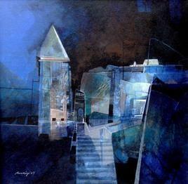 Untitled 1 by Pradip Sengupta, , , Blue color