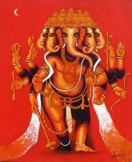Ganesha-1 by Suresh Gulage, , , Red color