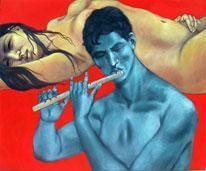 The Flute by Durba Nanda, , , Blue color