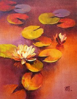 Waterlilies - 43 by Swati Kale, , , Brown color