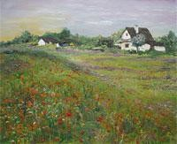 Poppies & Old House by Animesh Roy, , , Green color
