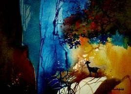 Alone by Pradip Sengupta, , , Blue color