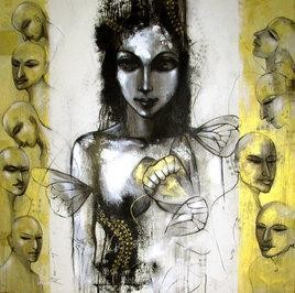 Relation I by Mithun Dutta, , , Beige color