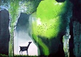 Untitled by Pradip Sengupta, , , Green color
