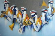 Bandwallas (Musicians) by Rajesh Shah, , , Cyan color