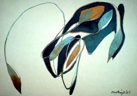 Untitled by Pradip Sengupta, , , Beige color