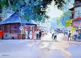 At the Traffic Light by Ramesh Jhawar, , , Cyan color