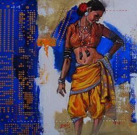 Thakar Woman by Ramchandra Kharatmal, , , Blue color