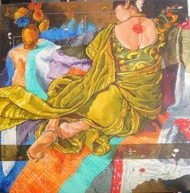 Woman with Quilt by Ramchandra Kharatmal, , , Brown color