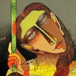 Violin Seller by Dayanand Kamakar, , , Brown color