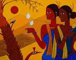 Tribal Women by Jiaur Rahman, , , Brown color