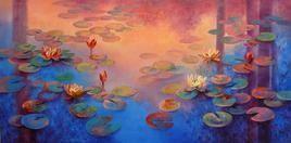 Waterlilies 33 by Swati Kale, , , Blue color
