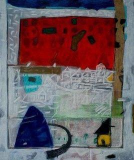 Landscape on Old Wall by Aditya Sagar, Naive, Naive Painting, Mixed Media on Canvas, Green color