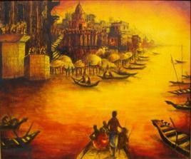 Landscape of Varanasi- III by Anirban Seth, , , Brown color