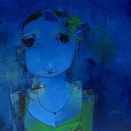 Blue Lady by Mukesh Salvi, , , Blue color