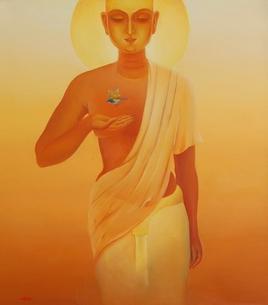 Journey 7 by Animesh Nandi, Surrealism, Surrealism Painting, Oil on Canvas, Orange color