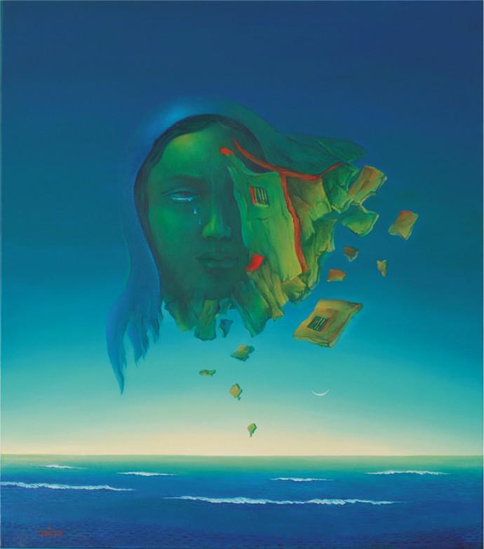 Trauma by Animesh Nandi, Surrealism, Surrealism Painting, Oil on Canvas, Blue color