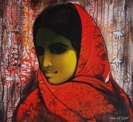Women in Red by Sachin Sagare, , , Brown color
