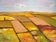 Fields with White Houses by Animesh Roy, , , Brown color