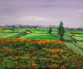 Marigolds Fields by Animesh Roy, , , Green color