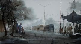 Foggy Morning by Jiaur Rahman, , , Gray color