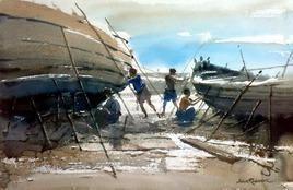 Riverside by Jiaur Rahman, , , Brown color