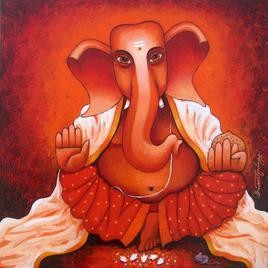 Ganesha by Suresh Gulage, , , Red color