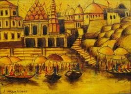 Vibrant Ghats of Varanasi-16 by Anirban Seth, , , Brown color
