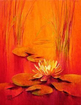 Waterlilies - 53 by Swati Kale, , , Orange color