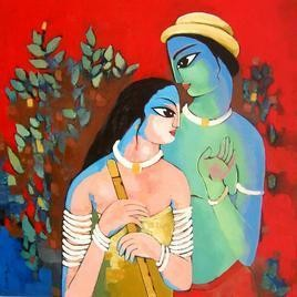 Krishna With She by Sekhar Roy, , , Brown color